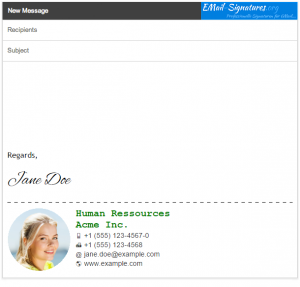 GMail signature template dotted line